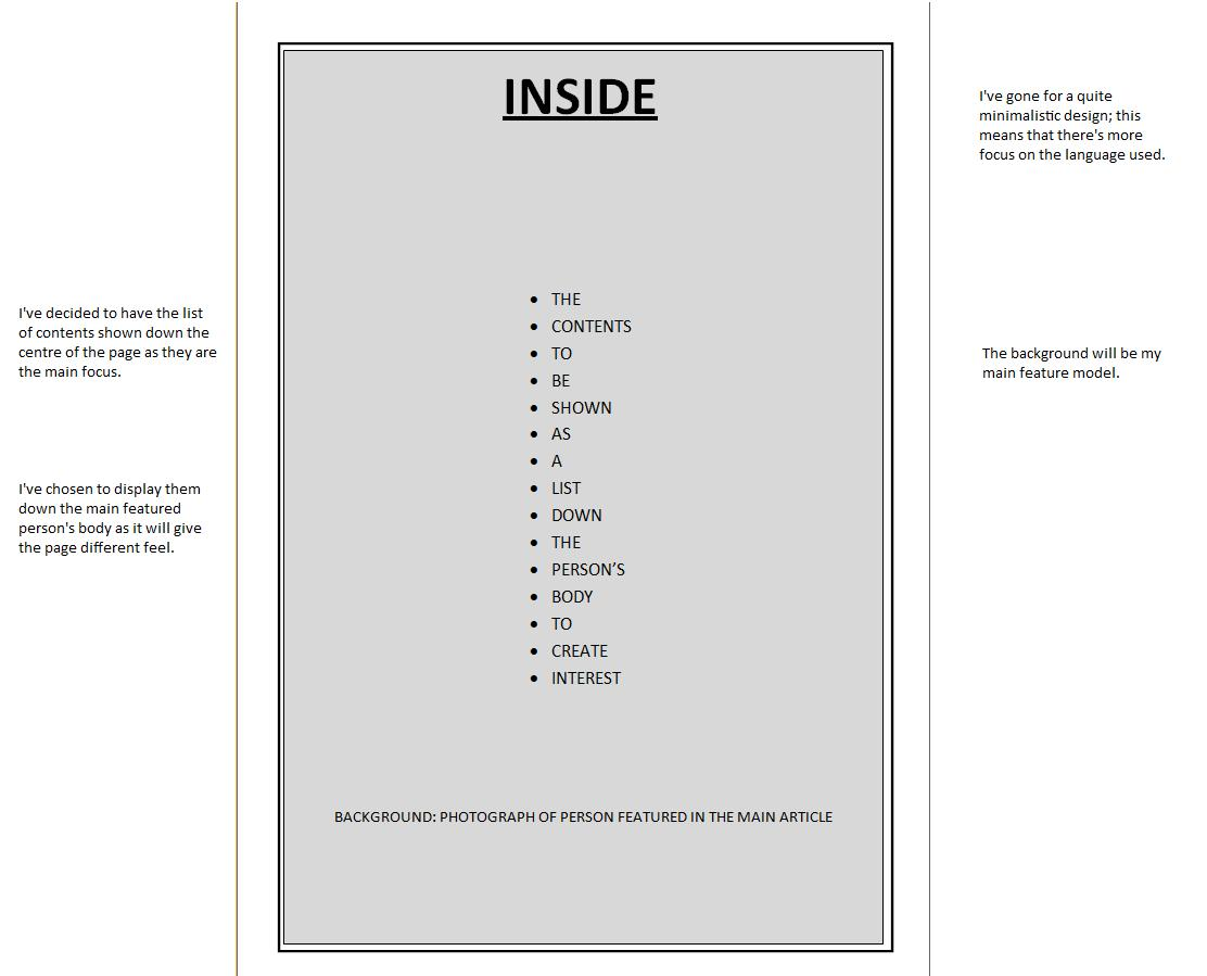 Sketch Layouts Of Front, Contents And Double Page Spread
